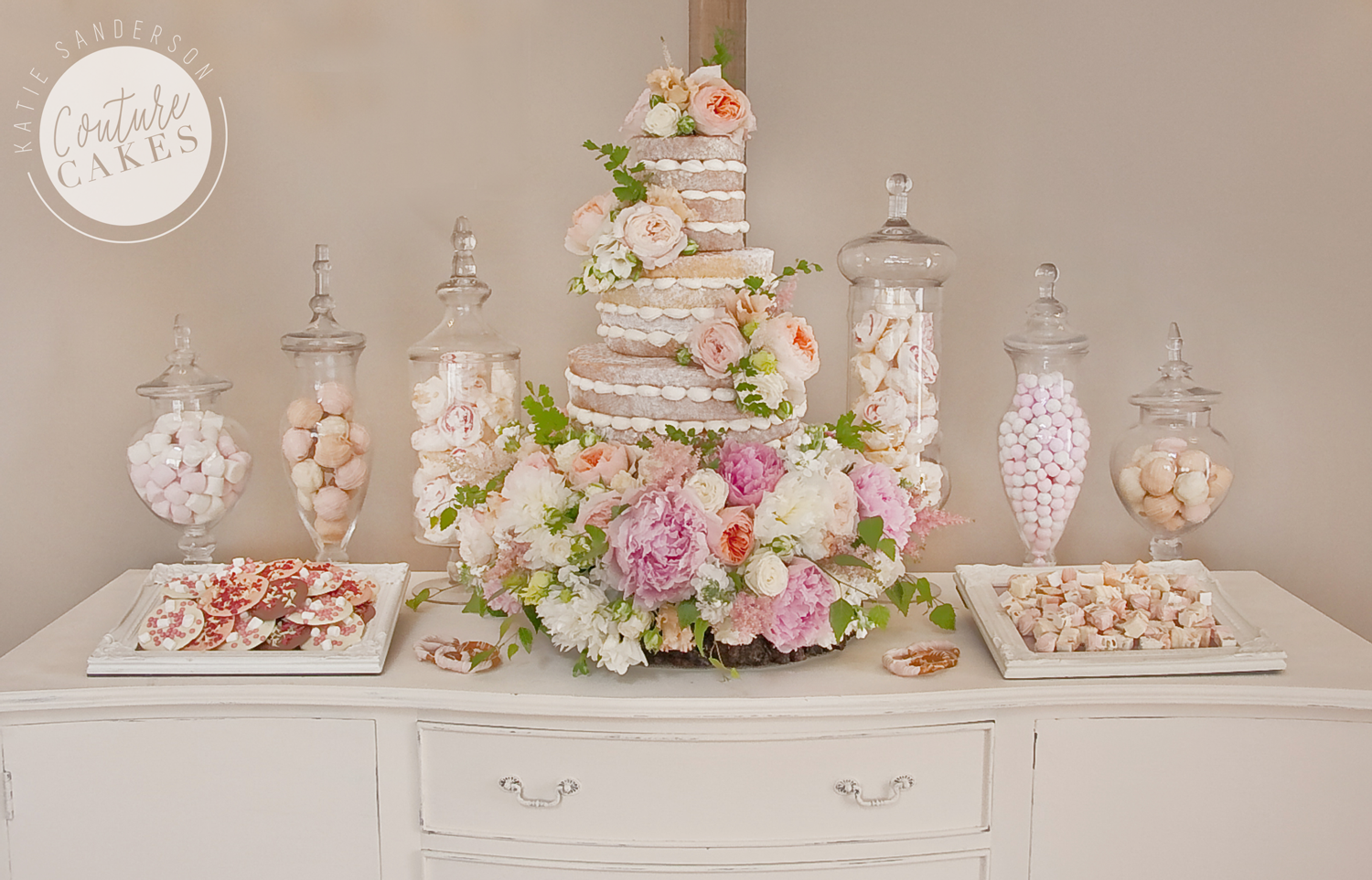 Naked Cake Serves 110 portions, Price £335 plus £175-250 flowers, £180 for treats & jar hire, plated treats £35 per plate