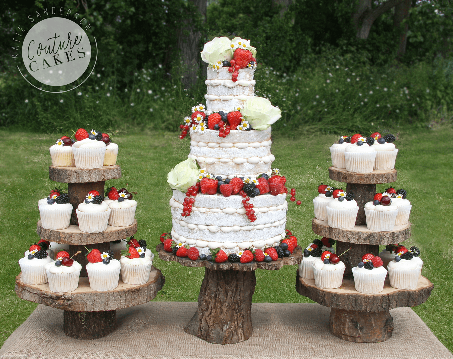 Naked Cake serves 110 portions, Price £355, plus £3.50 per cupcake