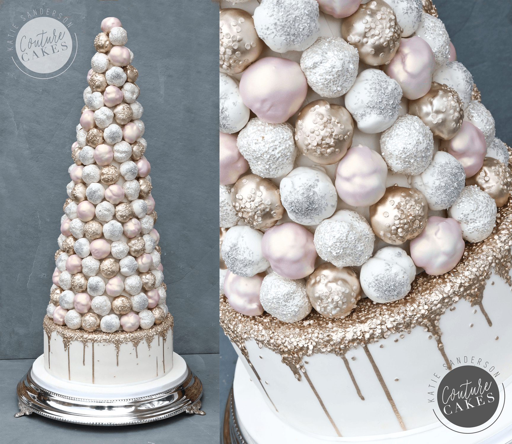Price £395 (for 200 profiterole cone), plus £195 base tier cake