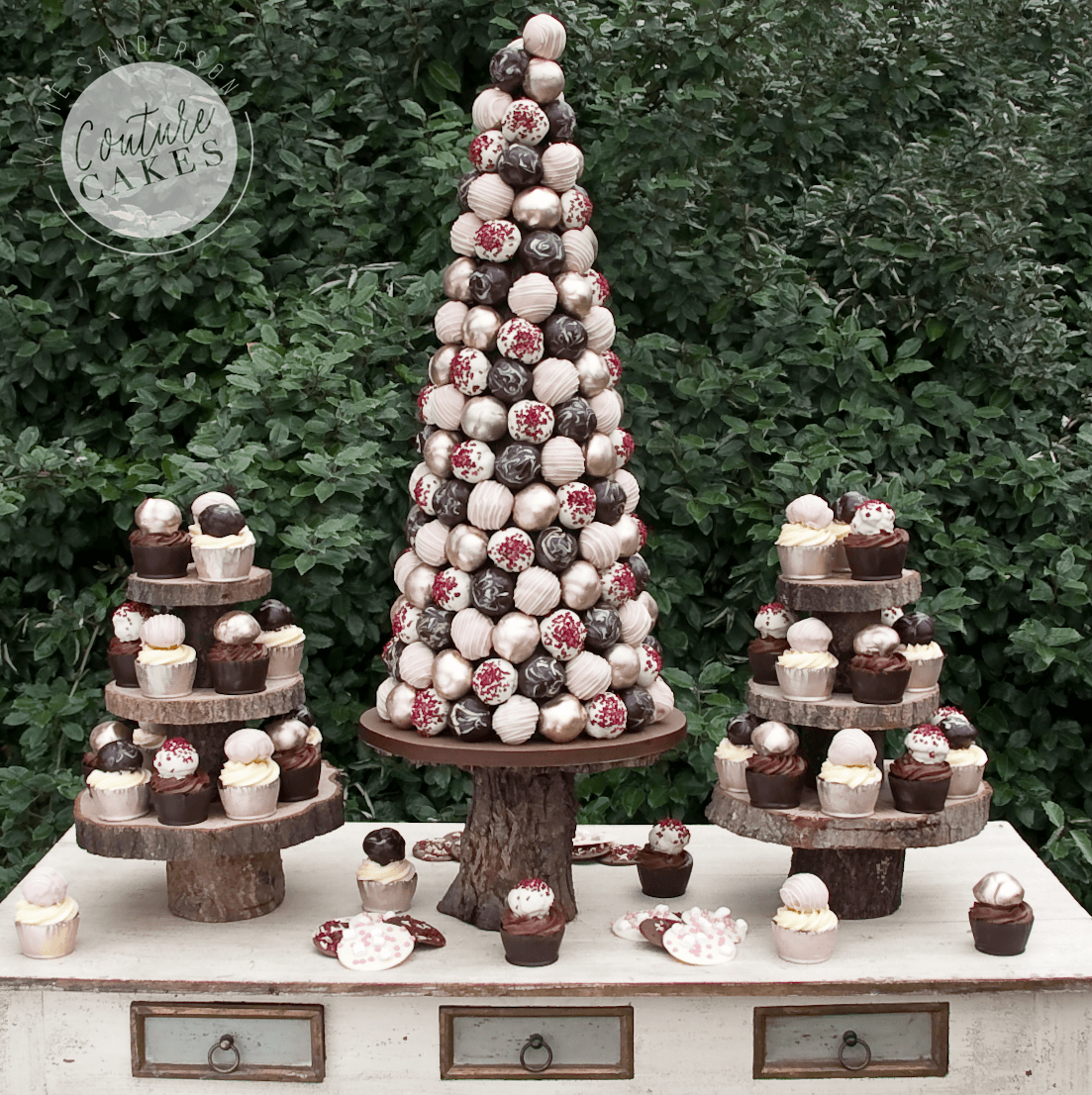 Price £395 (for 200 profiterole cone) plus £4.50 each for 40 cup cakes