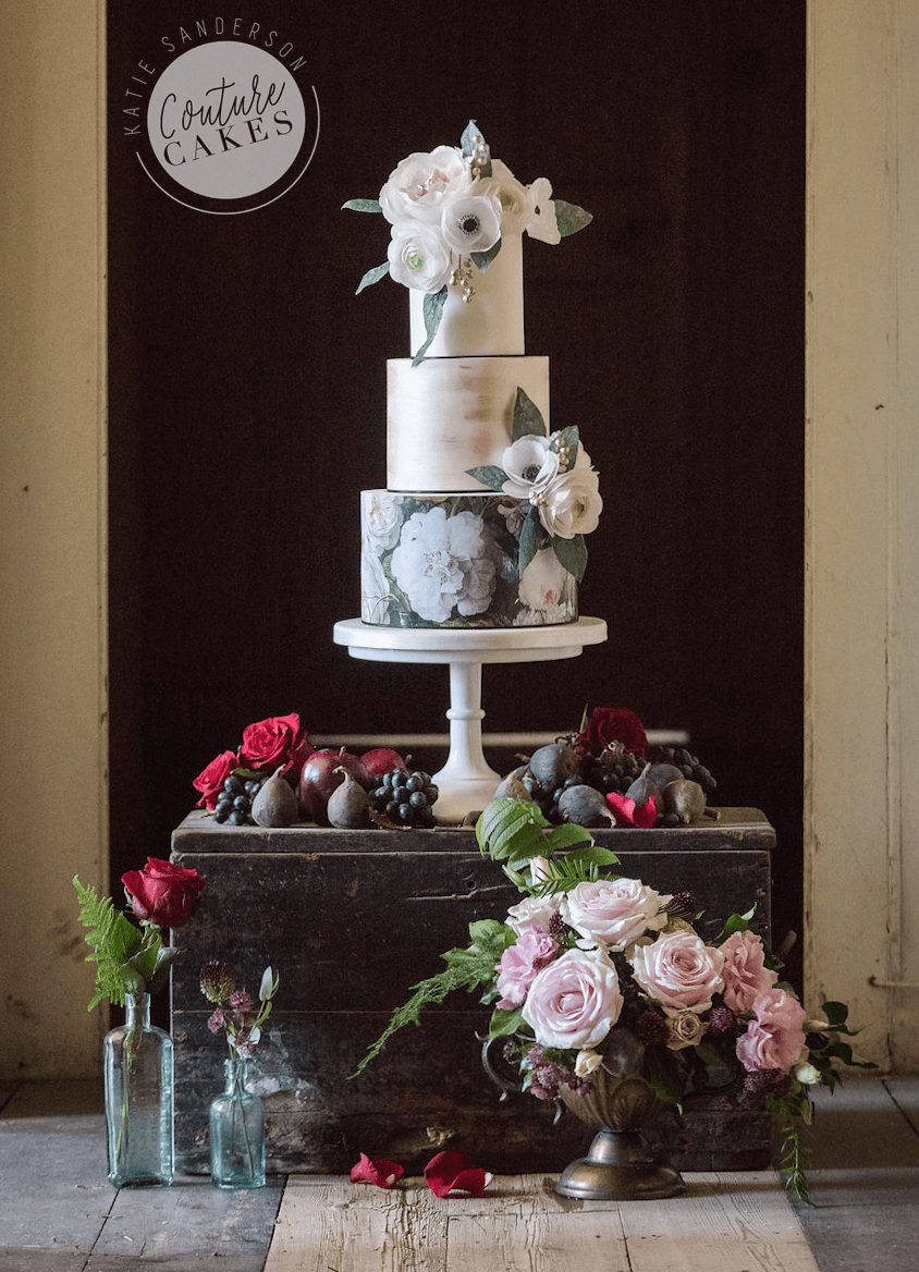 Floral Rock Wedding Cake: Serves 80 portions, Price category D £595. Photography by Sarah Vivienne.