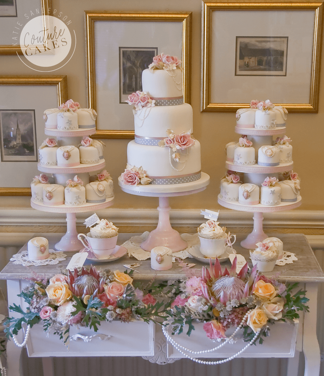Tiered Cake serves 70 portions, Price £545, plus £420 for 40 mini cakes & tiered stands