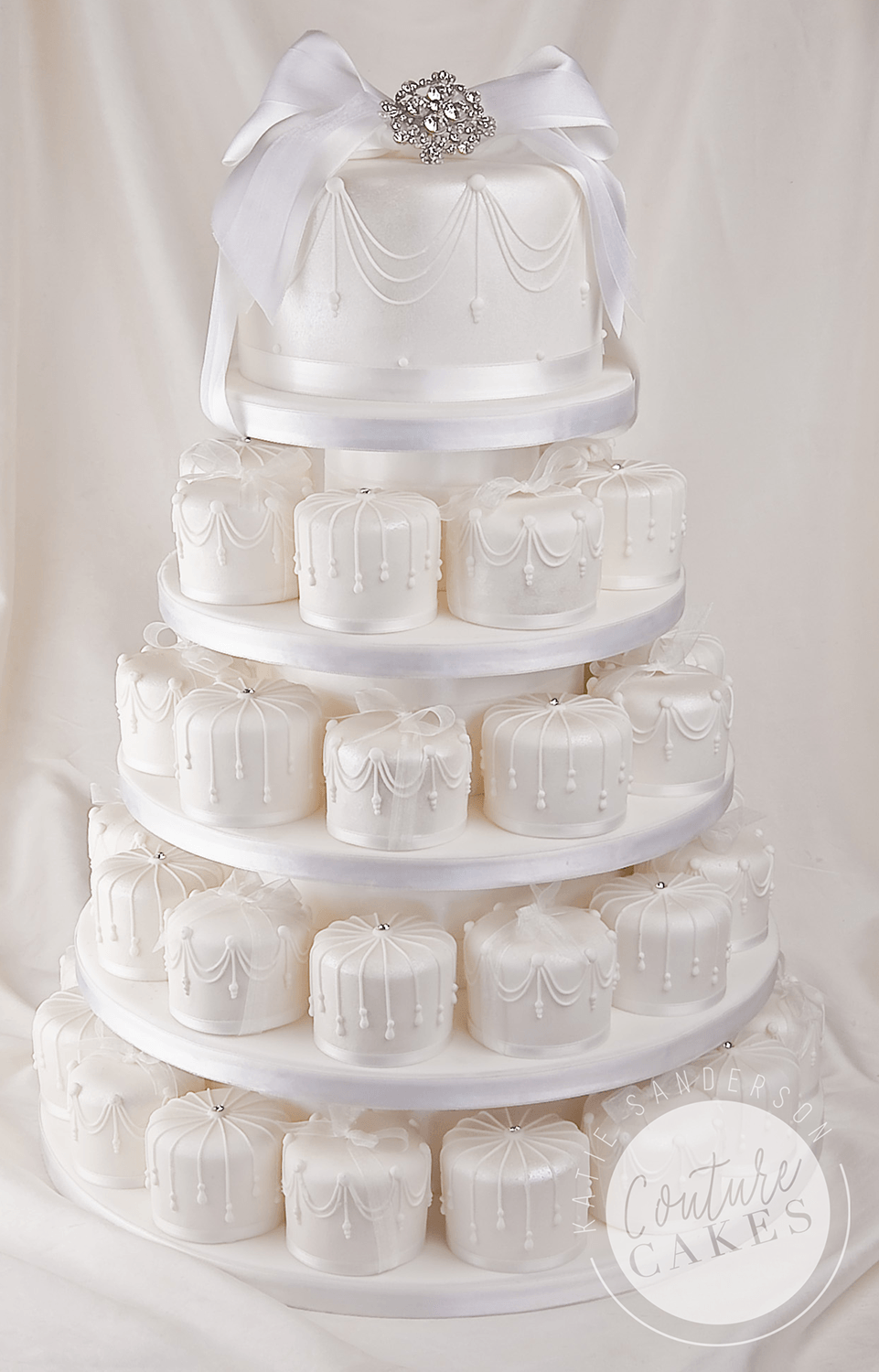 Serves 46 mini cakes and 20 portion top tier, As pictured £577 (for 46 mini cakes and 20 portion top tier