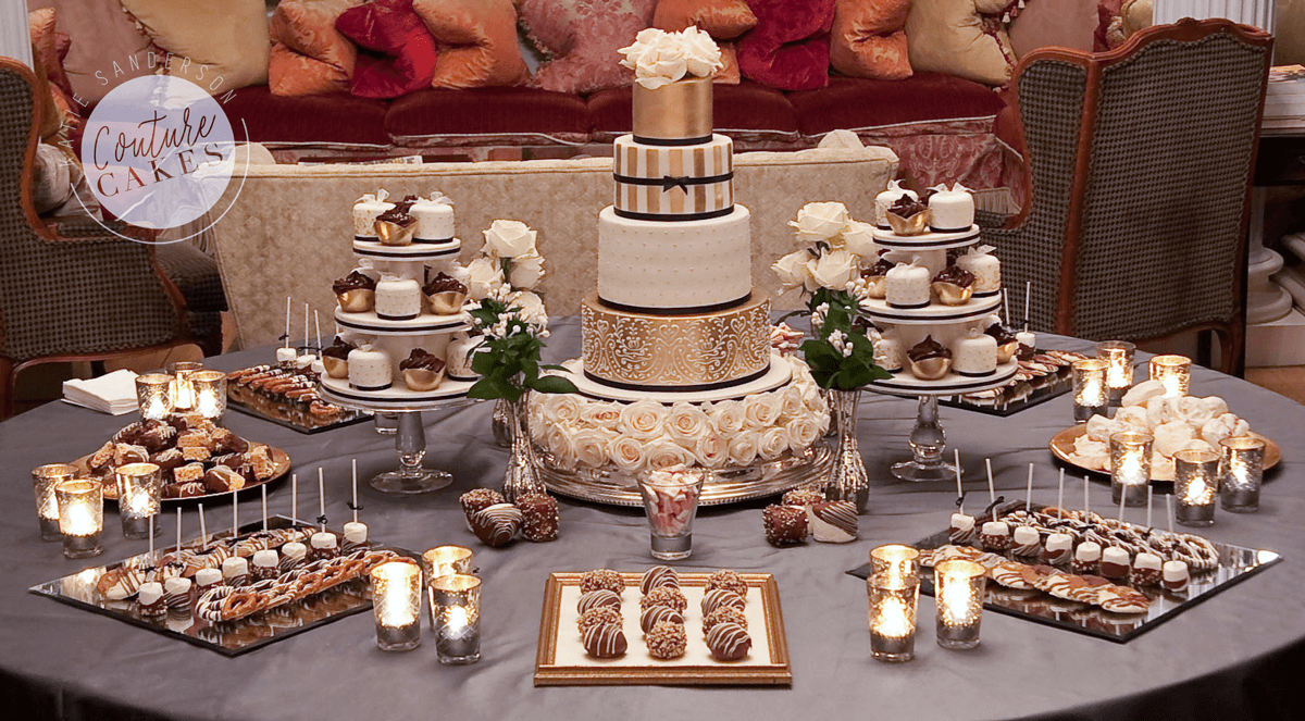 Tiered Cake Serves 135 portions, £760 excl flowers, 40 Mini cakes £320, Plated treats £345