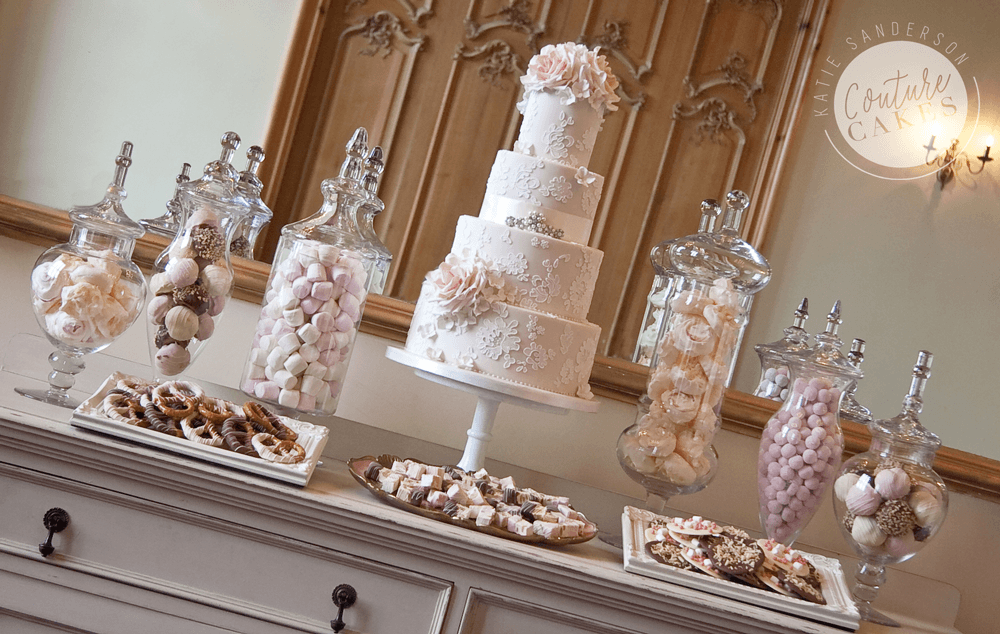 Cake serves 135 £775, plus £180 for apothecary jars filled with shomemade treats & sweets, plated treats £35 per plate
