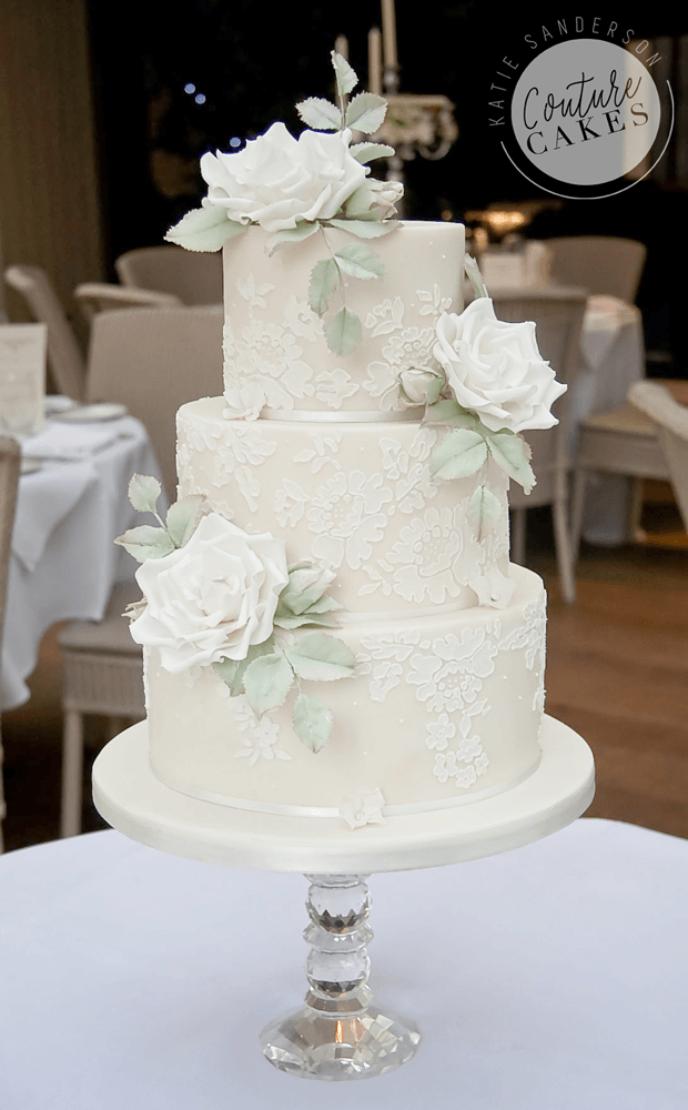 Lace Wedding Cake: Serves 100 portions, Price category D, £649