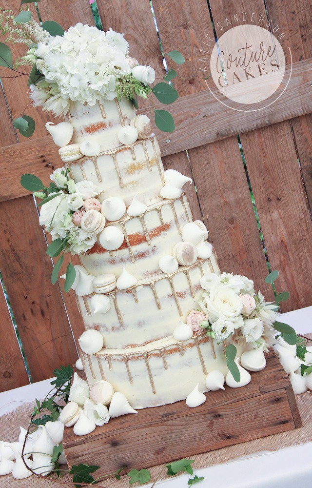 Semi-Naked Gold Drip Cake with Meringues & Macaroons, Serves 250, £555 plus £65 flowers