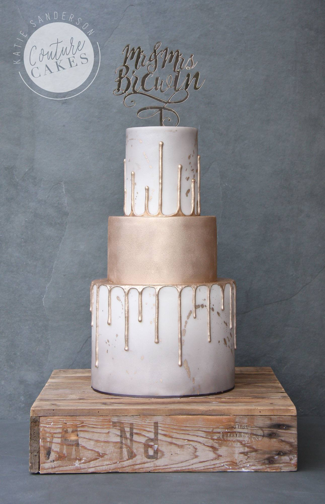 Gold Drip Wedding Cake: Serves 80 portions, Price category C, £595 excl topper