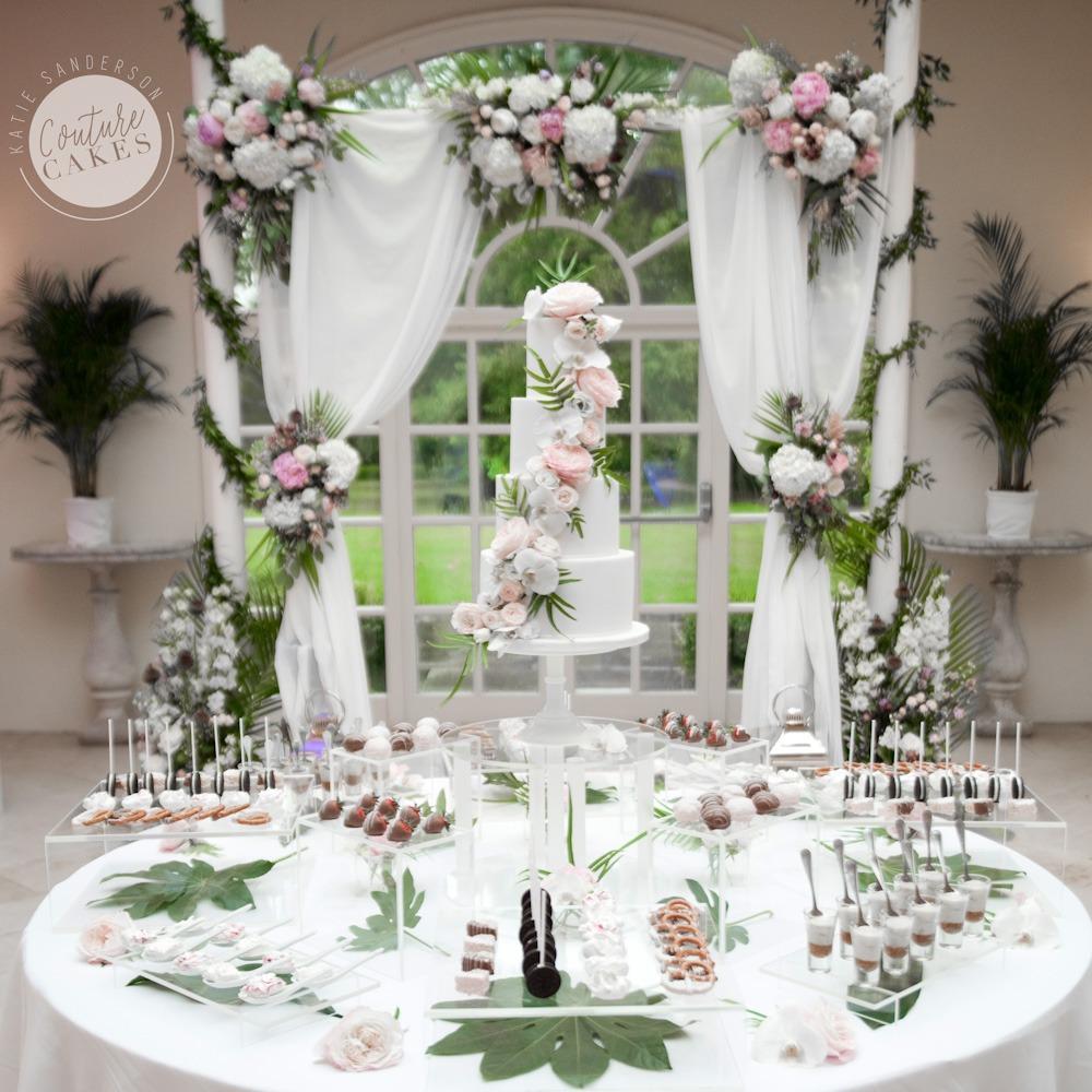 Tropical wedding cake dessert table stapleford park