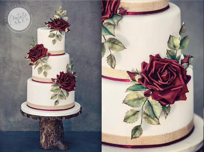 Claret Sugar Flower Cake, Serves 80, Price Category D, £545