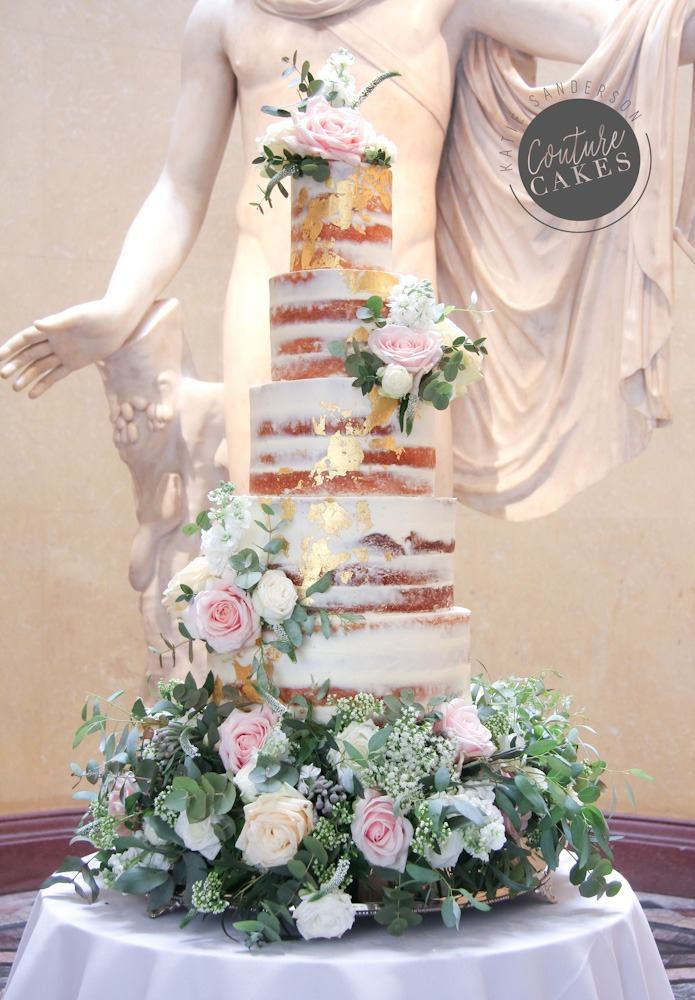 5 Tier Gold Leaf Semi-Naked Cake, 250 portions £595 plus £185 flowers