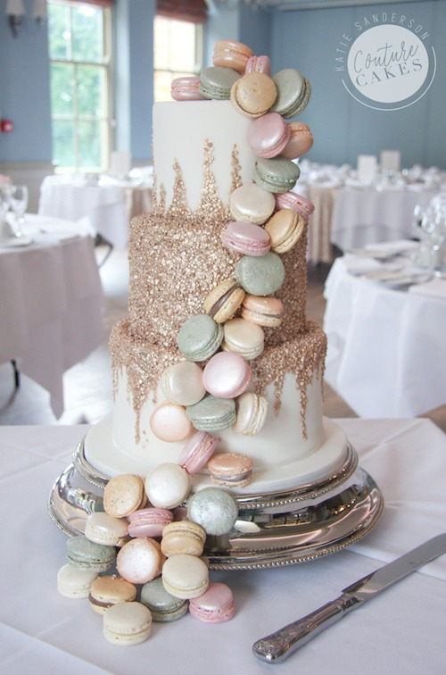 Cascading Sequins and Macaroon Wedding Cake, Serves 80, £575