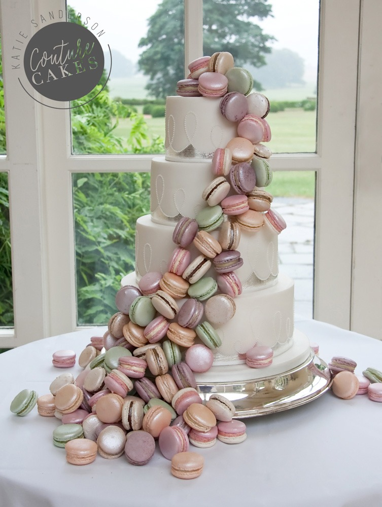 Silver Leaf & Macaroon Wedding Cake, Serves 80, Price category C £555