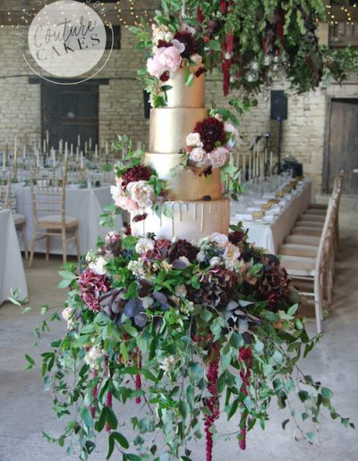 suspended gold drip wedding cake northamptonshire oudle