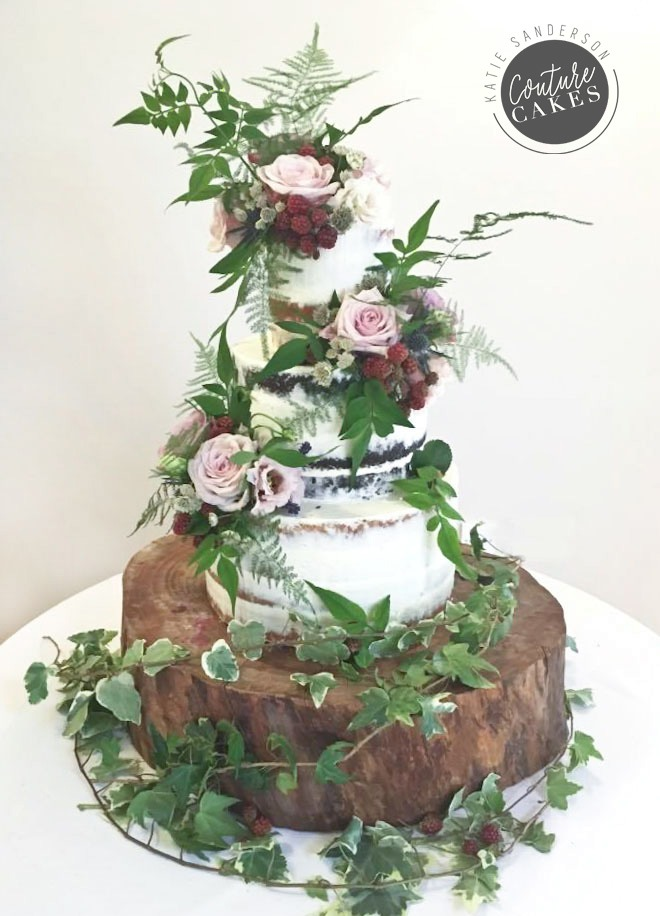 Semi-Naked Cake with WIld Blackberry Flowers, Serves 120, £335 plus flowers