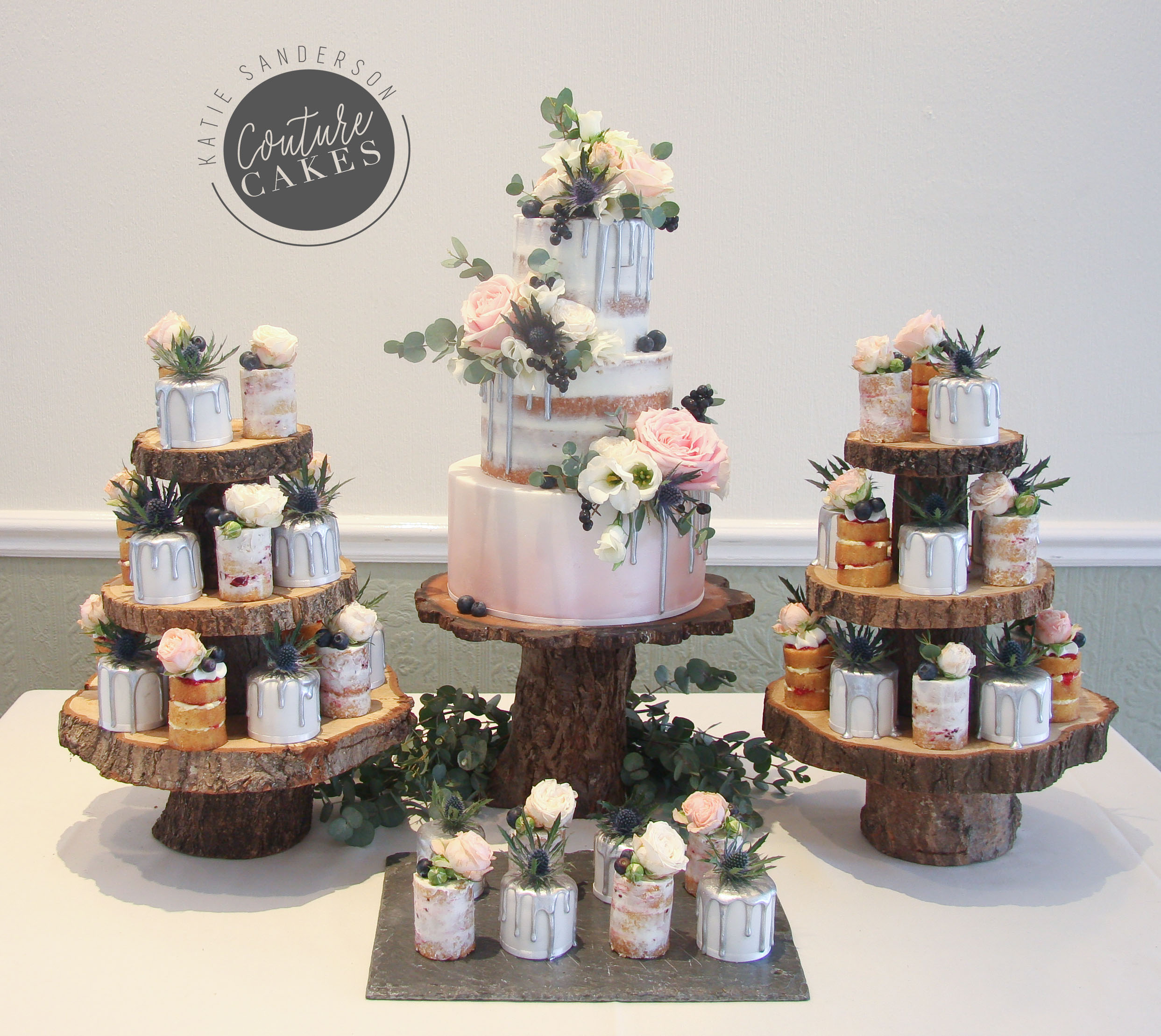 Semi-Naked Cake serves 100 portions, Price £479 plus £65 flowers, plus £280 mini cakes