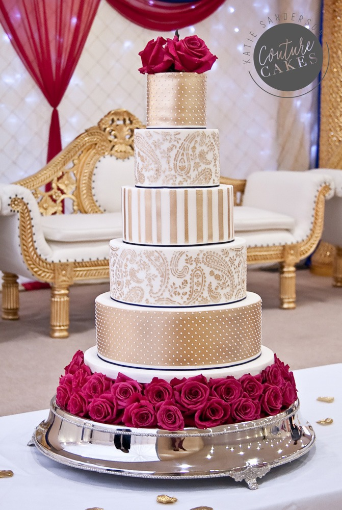 Indian Gold Wedding Cake: Serves 220 portions Price category C, £895