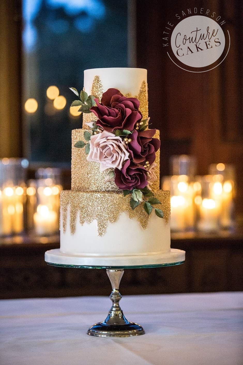 Gold Glitter Wedding Cake: Serves 100 portions, Price category C, £649