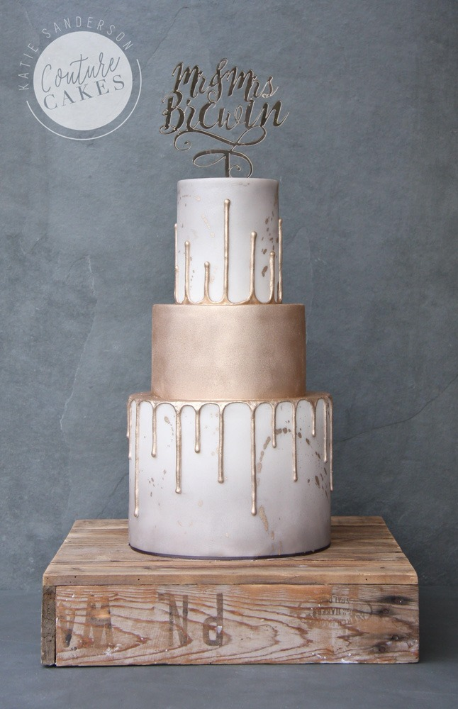 Gold Drip Wedding Cake: Serves 80 portions Price category C, £475