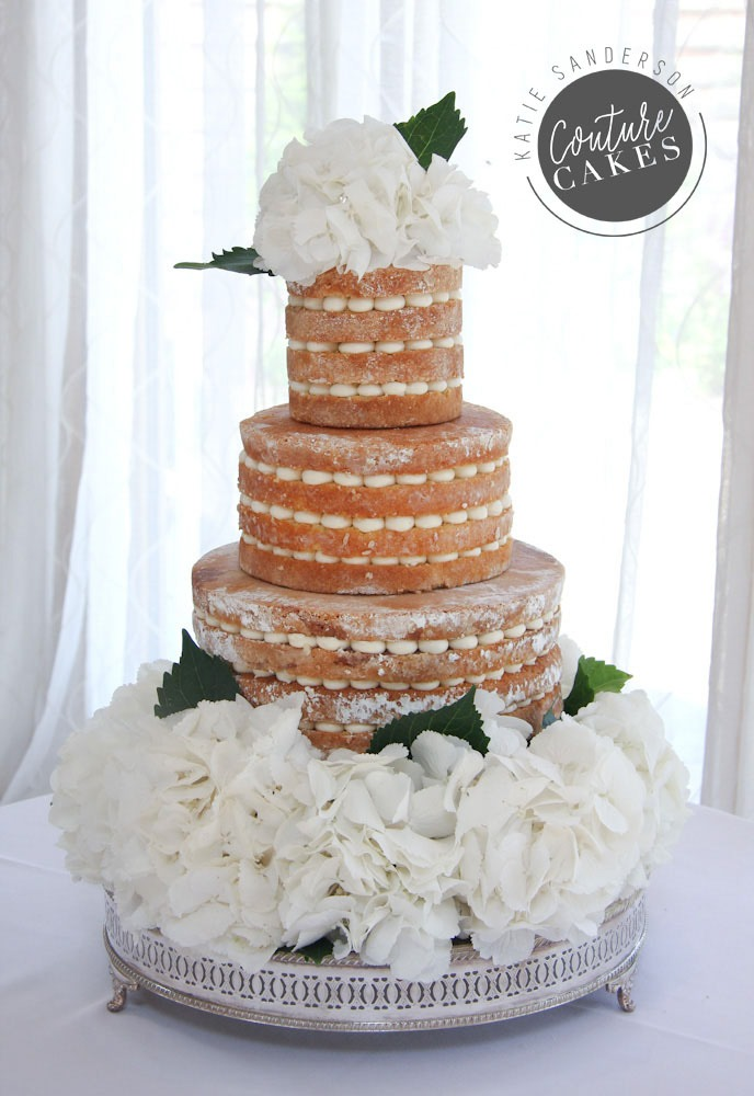 Naked Cake serves 80 portions, £295 plus £90 bed of hydrangea