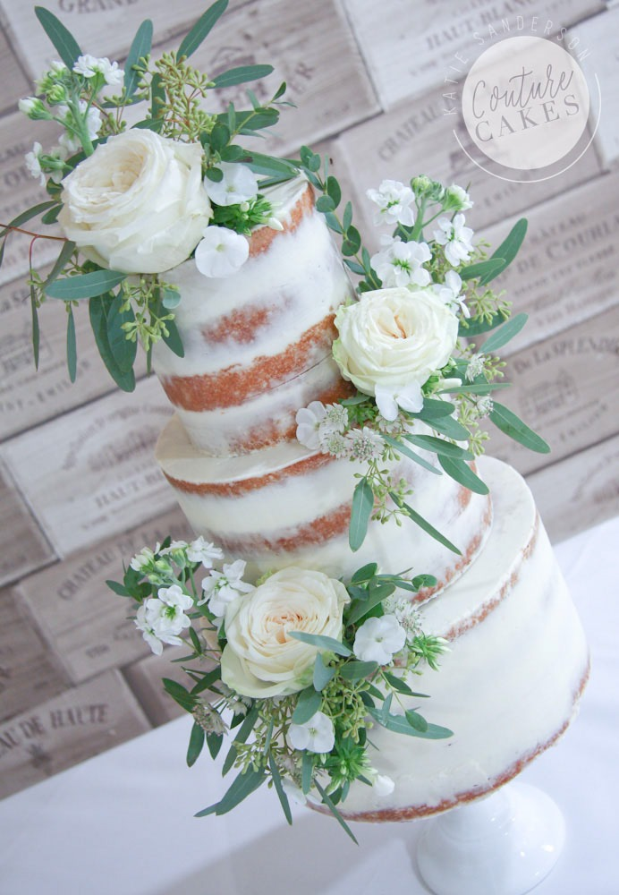 Semi-Naked Cake with Ivory Flowers, Serves 80, £295 plus £65 flowers
