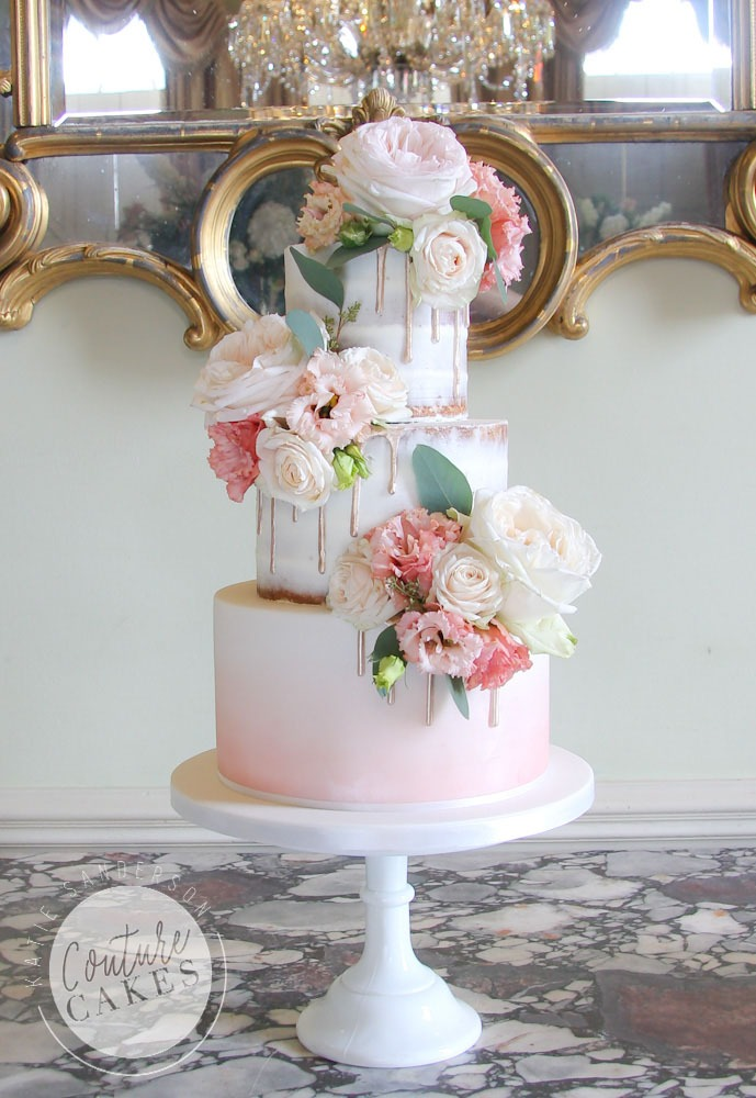 Naked Cake serves 90 portions, Price £420 plus £65 fresh flowers