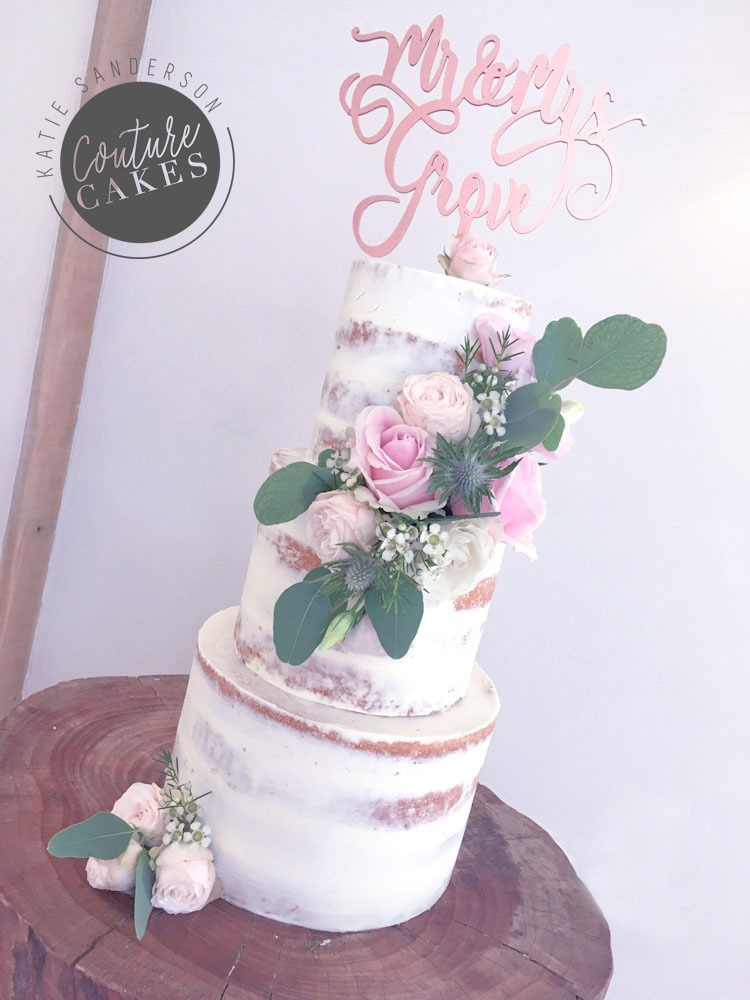 Semi-Naked Cake, Serves 90 portions, Price £295 excl fresh flowers
