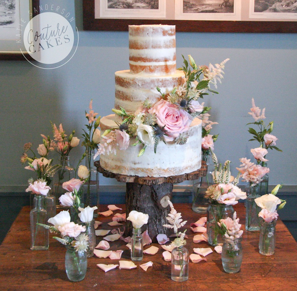 Semi-Naked Cake Serves 120, £335 excl flowers