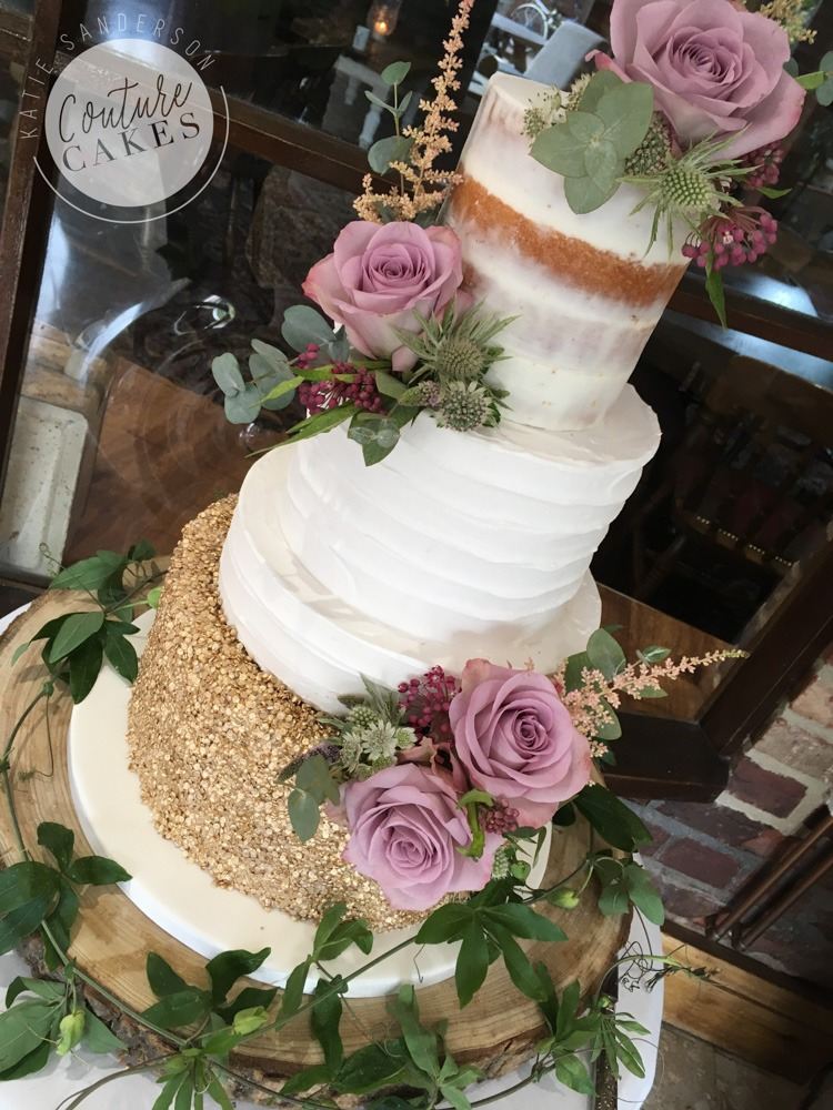 Rustic Sequin Wedding Cake: Serves 110 portions, £515