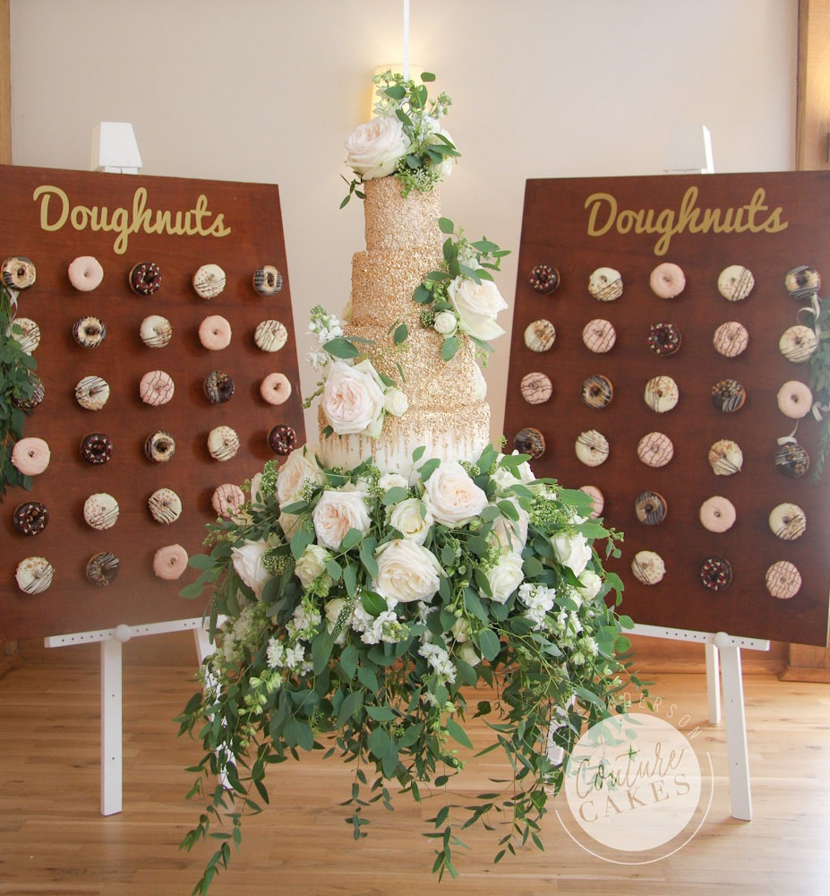 Tiered Wedding Cake Serves 135, £760 plus £65 suspension, £250 flowers, £3 per donut (£180 for 60)