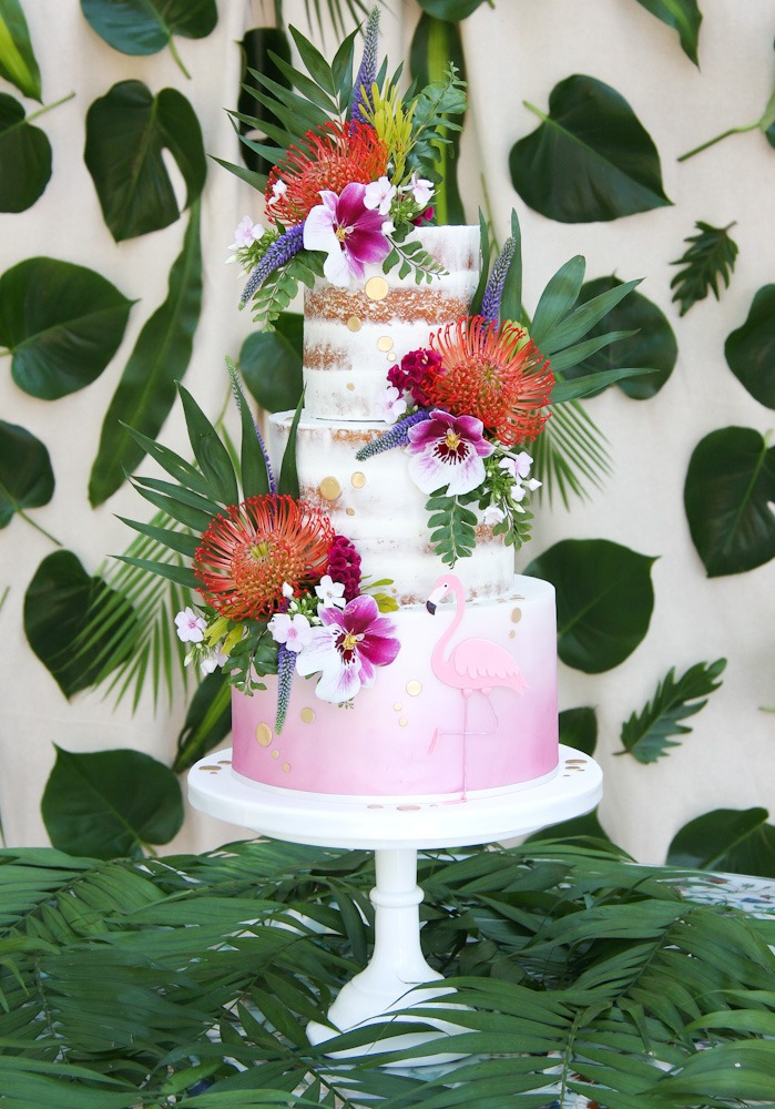Tropical Semi-Naked Cake, Serves 90 portions, Price £395 plus £65 fresh flowers