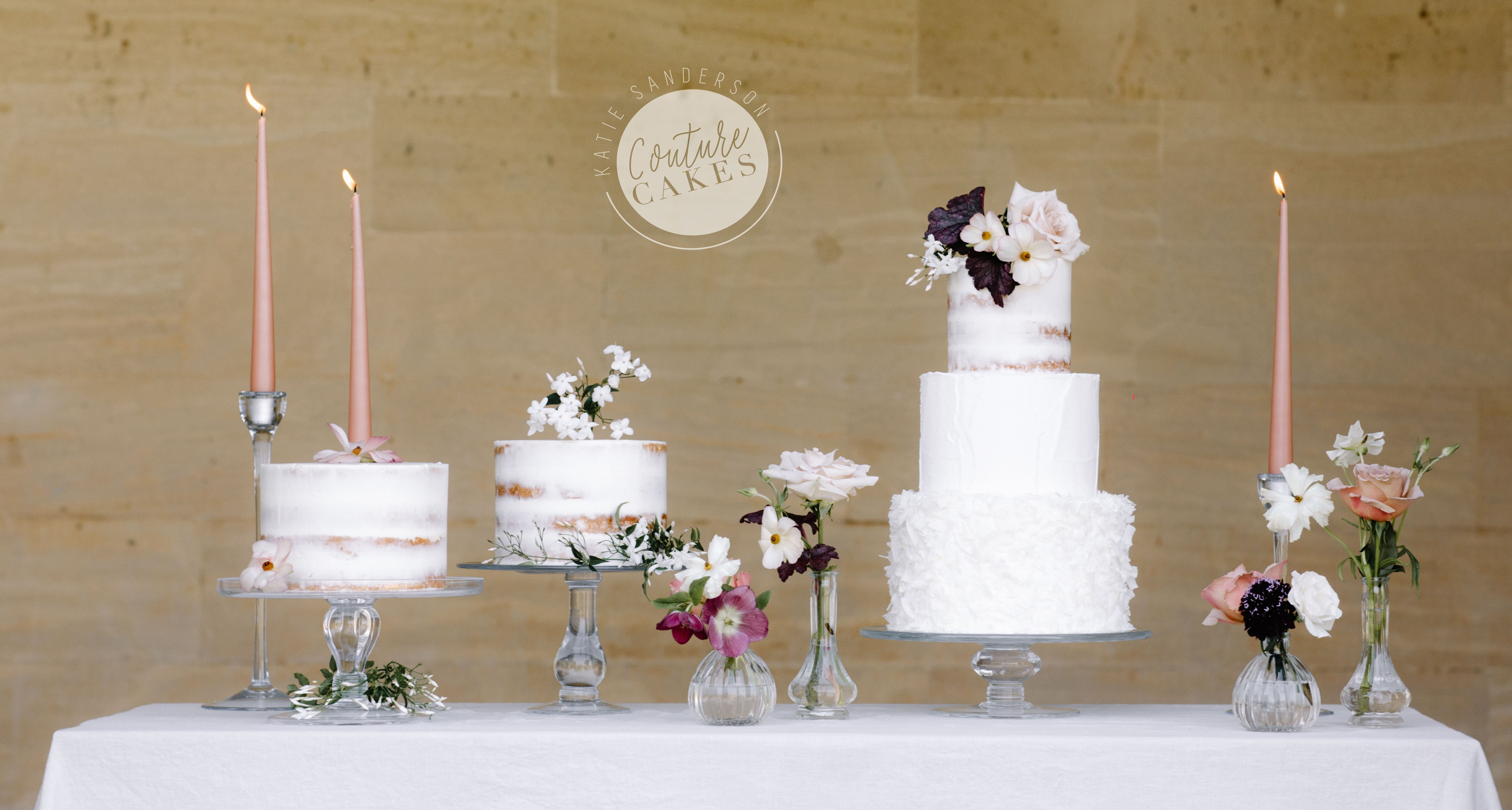 Main Cake serves 100 portions  £341, smaller cakes serve 40 portions each £85 each excl flowers