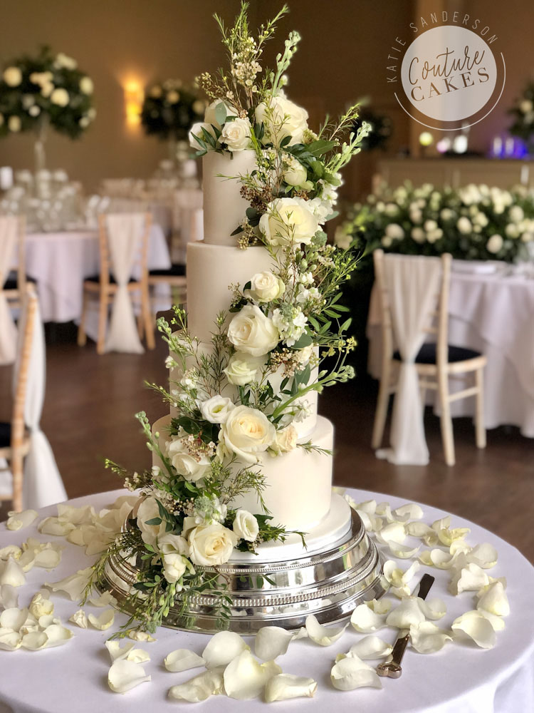 Floral Cascade Wedding cake: Serves 120 portions £490 plus £125 flowers
