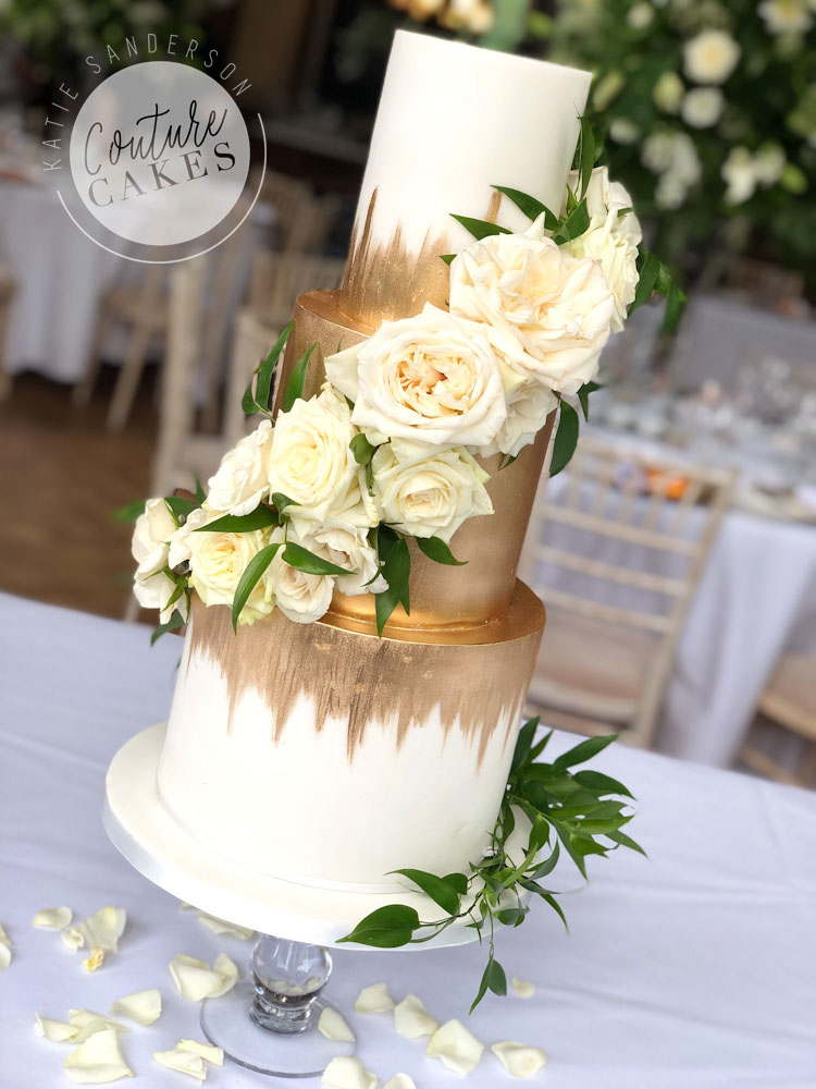 Gold Ombre Wedding Cake, Serves 90 portions, Price Category B, £455 plus flowers