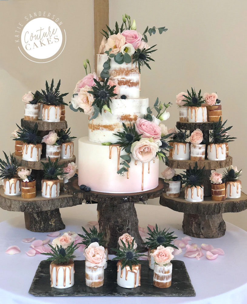 Ombre Drip Wedding Cake, Serves 90 portions, Price Category B, £435, plus 40 mini cakes £280  excl flowers